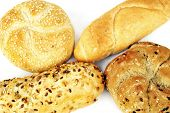Four various breadrolls