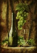 Grunge still life with white wine
