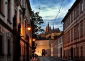 Evening view of Prague Castle from street of Mala Strana