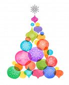 Christmas backgound with Christmas tree, watercolor vibrant colors Christmas decoration, Merry Chris poster