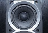 Loud speaker close view. Blue tint.