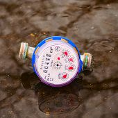 Water Meter In The Puddle