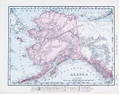 Antique Vintage Color Map Of Alaska, Usa