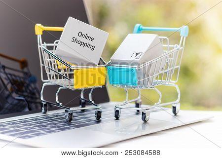 Cardboard Box In Shopping Cart