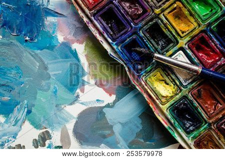 poster of Artist Paint Brush And Watercolor Paintbox. Instruments And Tools For Creative Leisure. Creative Bac