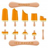 Vector Illustration Logo For Natural Mango Ice Cream On Stick. Ice Cream Pattern Consisting Of Sweet poster