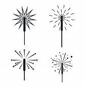 Sparkler Fireworks Bonfire Icons Set. Simple Illustration Of 4 Sparkler Fireworks Bonfire Icons For  poster