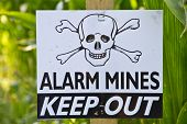 picture of landmines  - Close up of a land mine keep out warning sign - JPG