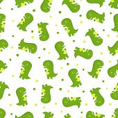 Seamless Pattern With Dinosaurs On White, Simple Background With Animals, Bright Wallpapers With Cut poster