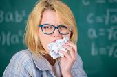 Hungry For Knowledge. Teacher Ready To Eat Her Paperwork. Teacher Eats Piece Of Paper Absorb Informa poster