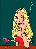 Cartoon Woman Smoking At The Bar