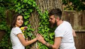 Couple In Love Romantic Date Walk Nature Tree Background. Love Relations Romantic Feelings. Park Bes poster