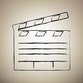 Film Clap Board Cinema Sign. Vector. Brush Drawed Black Icon At poster