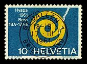 SWITZERLAND-CIRCA 1961:A stamp printed in Switzerland shows image of ausstellung emblem der HYSPA 19
