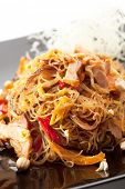 stock photo of rice noodles  - Pork with Rice Noodles and Vegetables - JPG