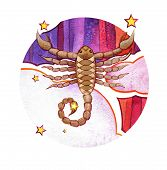 Astrological Sign Of The Zodiac Scorpion, Watercolor In Retro Style, On A Round  Pattern Background poster