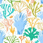 Vector Corals And Seaweed, Algae Seamless Pattern. Sea Flora poster