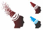 Vector Propaganda Megaphone Icon In Dispersed, Dotted Halftone And Undamaged Entire Variants. Disapp poster