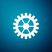 Gear Icon Isolated On Blue Background. Cogwheel Sign. Flat Design. Vector Illustration poster