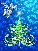 picture of angel-trumpet  - Snowflakes Angel with Trumpet Over Christmas Tree Illustration - JPG