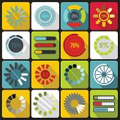 Loading Bars And Preloaders Icons Set In Flat Style. Progress Loading Set Collection Illustration poster