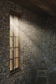 3d Rendering Of Medieval Empty Room With Light Rays At Window poster