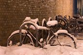 Snow Covered Bicycles