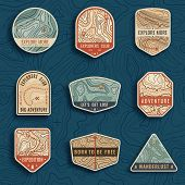 Set Of Nine Topographic Map Travel Emblems. Outdoor Adventure Emblems, Badges And Logo Patches. Fore poster