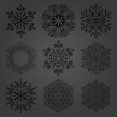 Set Of Vector Black Snowflakes. Fine Winter Ornaments. Snowflakes Collection. Snowflakes For Backgro poster