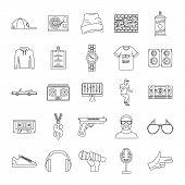Hiphop Rap Swag Music Dance Icons Set. Outline Illustration Of 16 Hiphop Rap Swag Music Dance Icons  poster