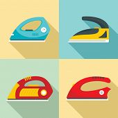 Smoothing Iron Drag Appliance Icons Set. Flat Illustration Of 4 Smoothing Iron Drag Appliance Icons  poster