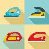 Smoothing Iron Drag Appliance Icons Set. Flat Illustration Of 4 Smoothing Iron Drag Appliance Icons  poster
