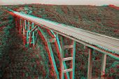 3D stereo anaglyph  bridge in Matanzas, Cuba .View with red/cyan glasses.
