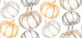 Vector Hand Drawn Sketched Pumpkin Seamless Pattern poster
