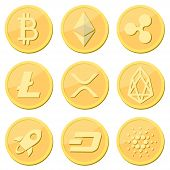 Cryptocurrency Coin Set: Bitcoin, Litecoin, Ripple Coin, Ethereum, Rpx, Eos, Stellar, Dash, Cardaro  poster