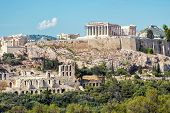 Scenic View Of The Acropolis Of Athens, Greece. The Ancient Greek Parthenon On Acropolis Hill Is The poster