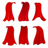 Red Hero Cape. Realistic Fabric Scarlet Cloak Or Magic Vampire Cover. Vector Set Isolated On Transpa poster