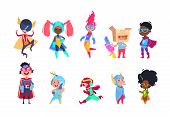 Kids Superheroes. Cartoon Superhero Children. Boys And Girls In Carnival Mask Vector Characters Set. poster