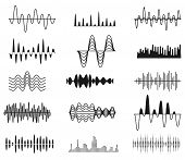 Sound Amplitude Waves. Radio Signal Symbols. Audio Music Equalizer, Voice Wave Vector Set Isolated.  poster