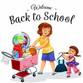 School Shopping With Mom Poster Cheerful Smiling Mother And Daughter Making Purchases Before Startin poster