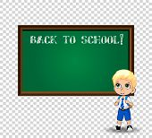 Cute Blonde School Boy With Big Green Anime Eyes Wearing Uniform With Backpack Standing Near Blackbo poster