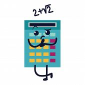 Calculator Flat Icon, Sad Numerator With Math Example And Colorful Buttons Vector Illustration poster