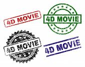 4d Movie Seal Prints With Damaged Surface. Black, Green, Red, Blue Vector Rubber Prints Of 4d Movie  poster