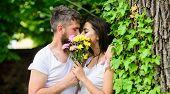 Man Bearded Hipster Kisses Girlfriend. Secret Romantic Kiss. Moment Of Intimacy. Couple In Love Hidi poster