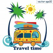 Surfing Tourist Summer Bus. Waves, Sun, Palms, Surfing Boards And Laggage. Vector Illustration. Can  poster