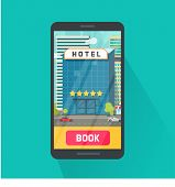 Booking Hotel Via Mobile Phone Vector Illustration, Flat Cartoon Smartphone With 5 Stars Hotel In Ci poster