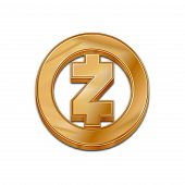 Golden Zcash Coin Symbol Isolated Web Vector Icon. Zcash Coin Trendy 3d Style Vector Icon. Raised Sy poster