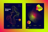 Music Wave Poster. Sound Flyer With Distorted Stripes. Vector Illustration. Abstract Background With poster