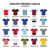 English Premier League Kits 2018 - 2019, Football Or Soccer Jerseys Icons Set From England 18/19 Kit poster
