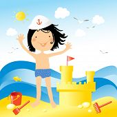 Enjoying holiday at the sea.Vector illustration of a little happy kid playing on the beach with toys